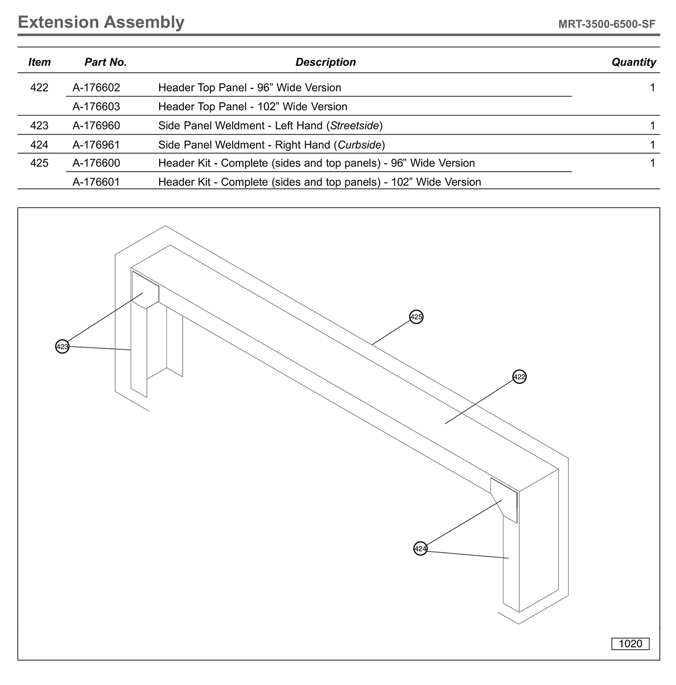 MRT-3500-6500-SF Extension Assembly