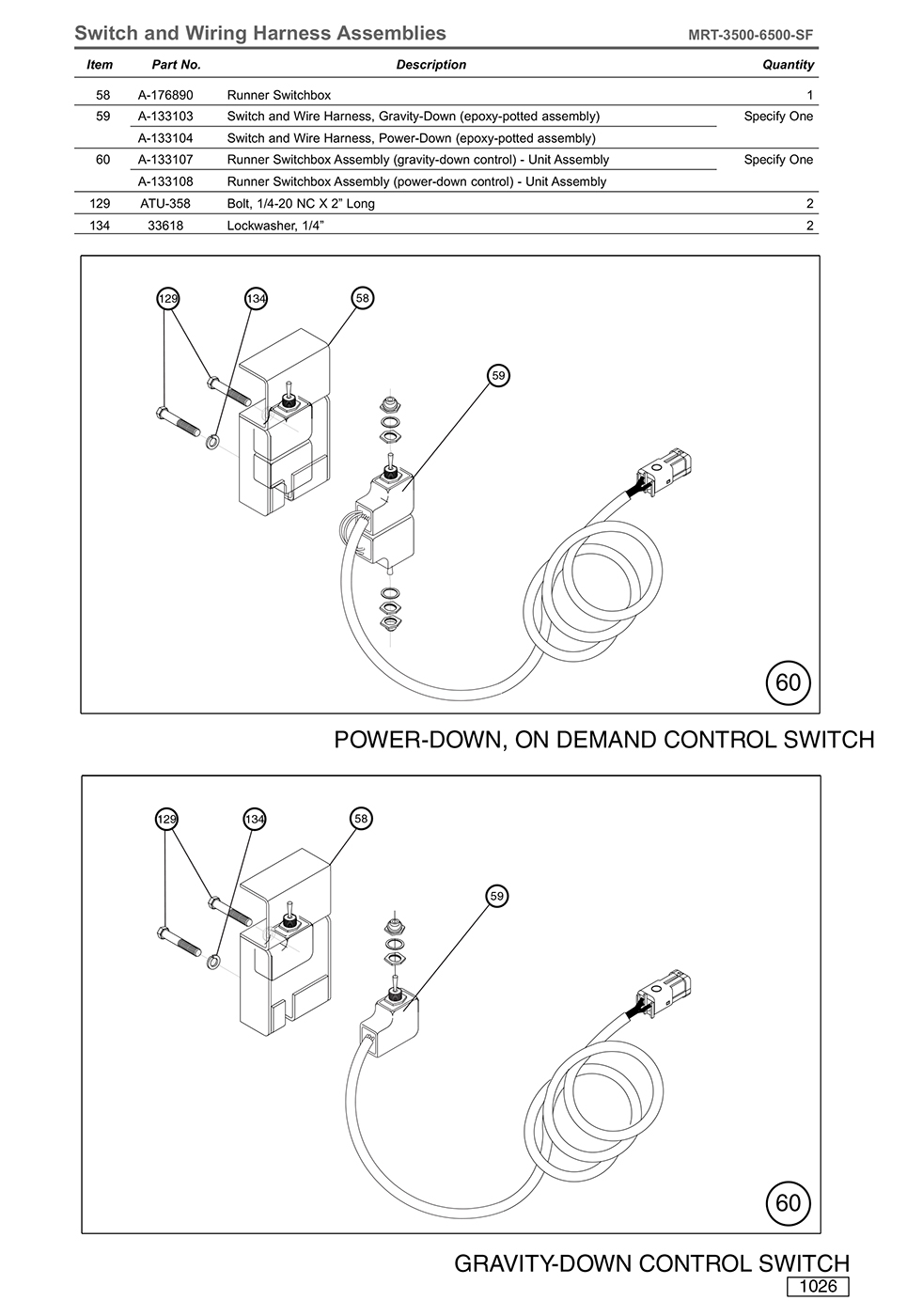 MRT-3500-6500-SF Switch and Wiring Harness Assemblies Diagram