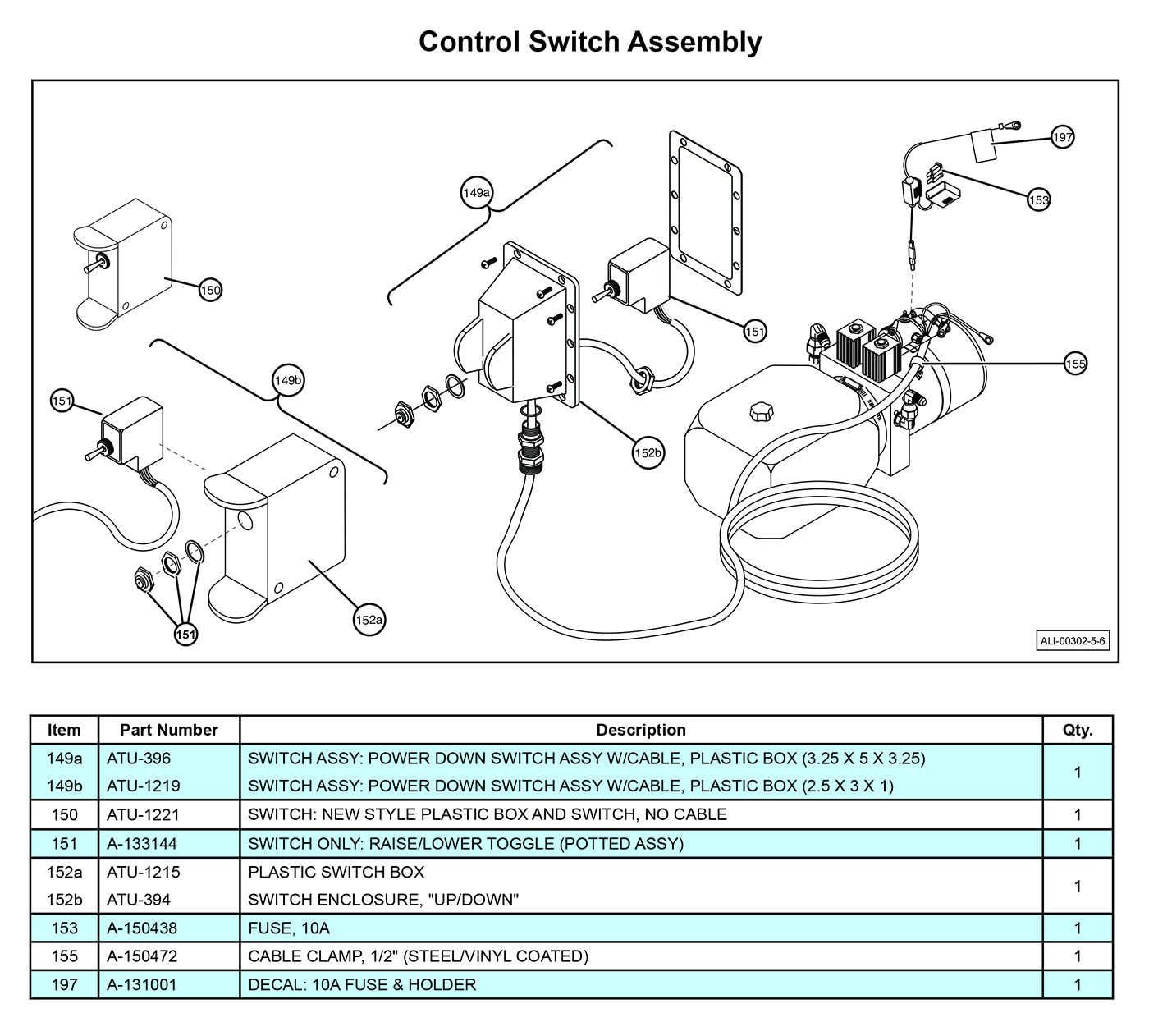 MTU-GLR-3-4 Control Switch Assembly Diagram