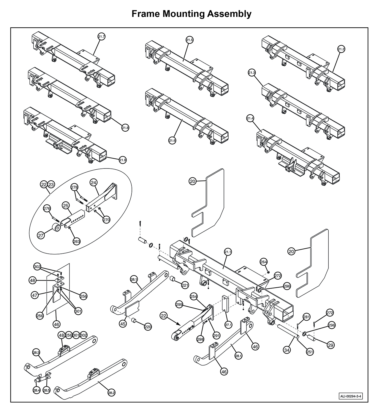 MTU-GLR-3-4 Frame Mounting Assembly Diagram