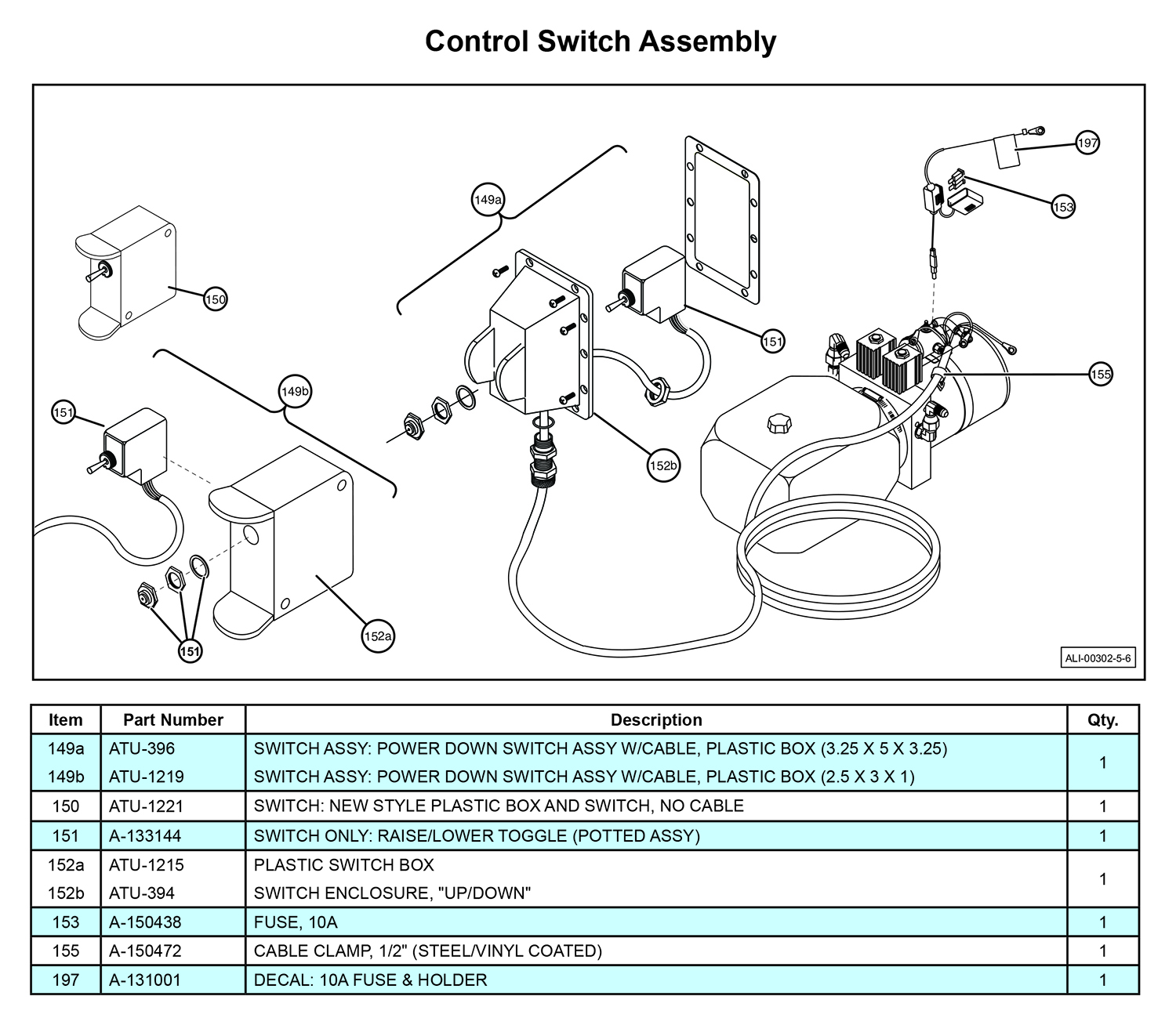 MTU-GLR-5-6 Control Switch Assembly Diagram