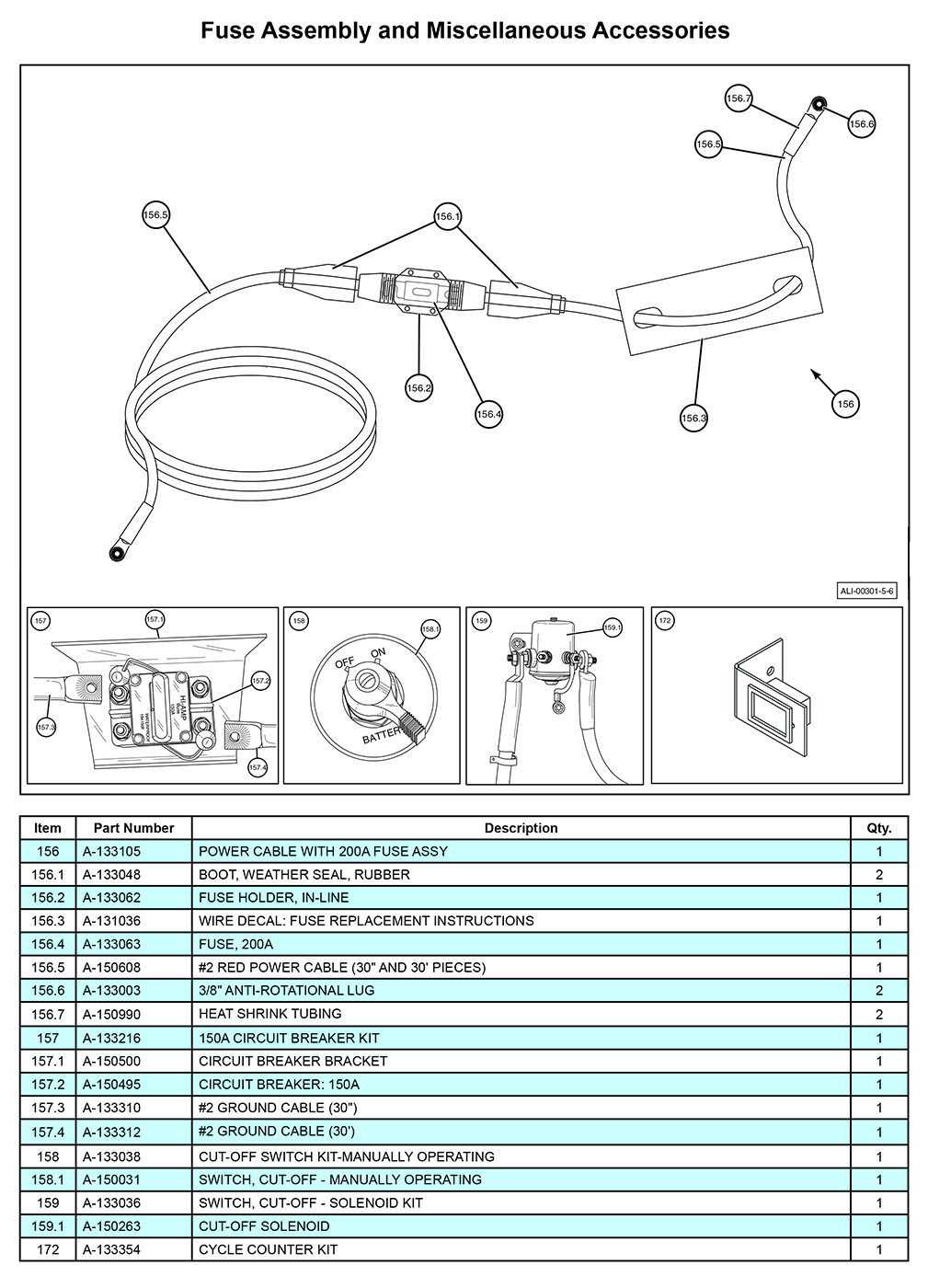 MTU-GLR-5-6 Fuse Assembly and Miscellaneous Accessories Diagram