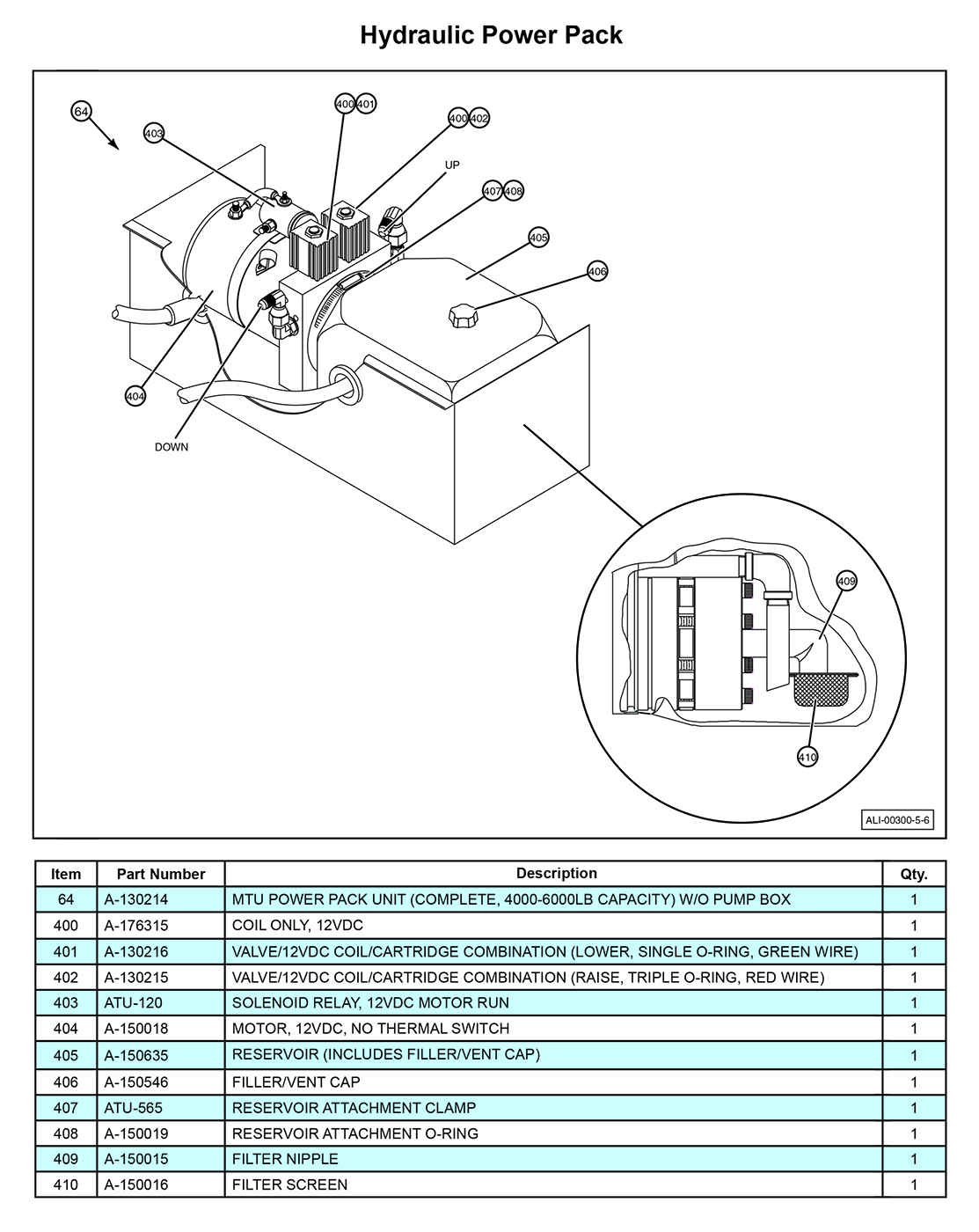 MTU-GLR-5-6 Hydraulic Power Pack Diagram