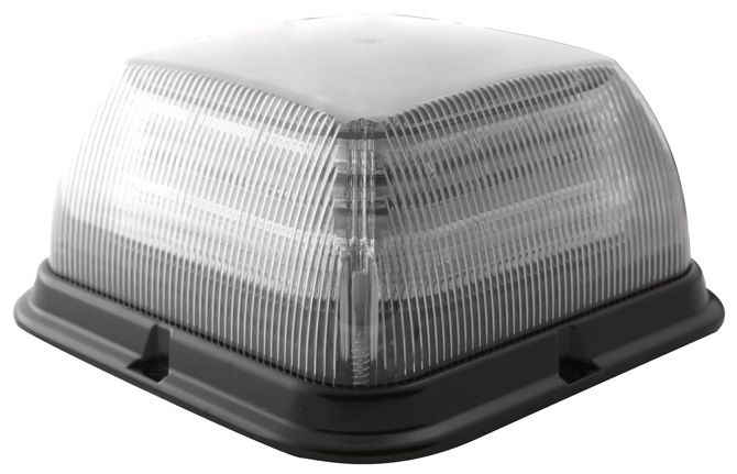 ECCO Lighting - LED Beacon: Dual-color | Square | reinforced polypropylene base | medium profile | 12-24VDC | 24 flash patterns | clear lens | amber/clear illumination