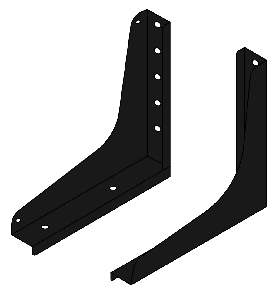 Black Minimizer Toolbox Mounting Brackets