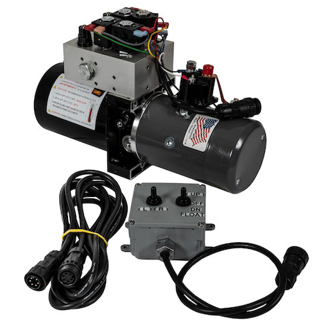 Buyers PU3593A - Buyers Brand 4-Way/3-Way DC Power Unit With Electric Controls (Horizontal 0.32 Gallon Reservoir)