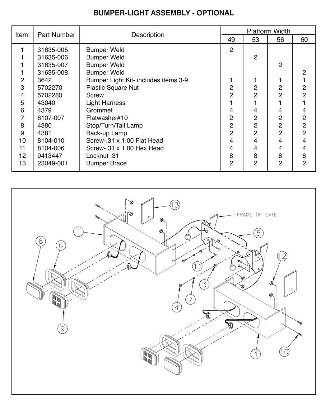 TT15ET Optional Bumper Light Assembly Diagram