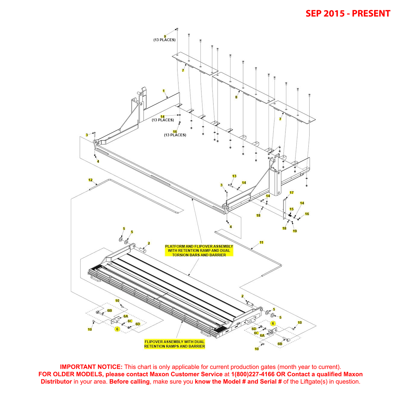 RA (Sep 2015 - Present) Platform And Flipover Assembly With Retention Ramp / Dual Torsion Bars / Barrier