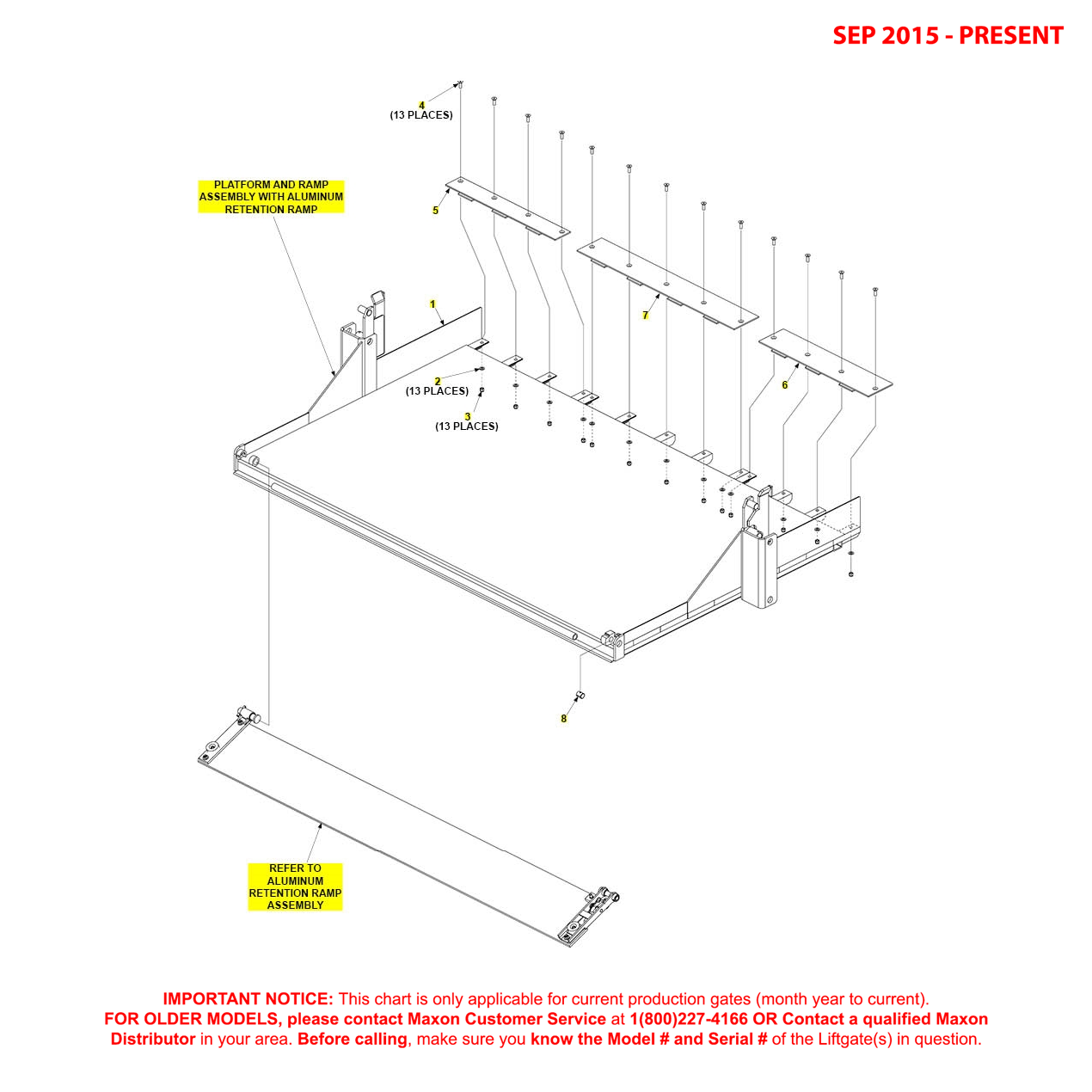 RA (Sep 2015 - Present) 82 Inch Platform And Aluminum Retention Ramp Ramp Assembly