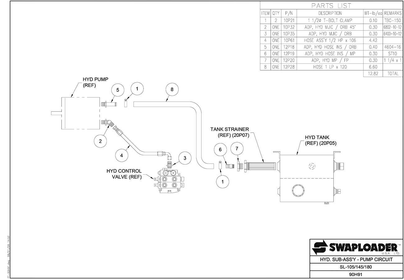Swaploader 100 Series Sl 105 Hooklift Diagrams Hydraulics Switch Box Wiring Diagram 10 145 180 185 Hydraulic Sub Assembly Pump Circuit