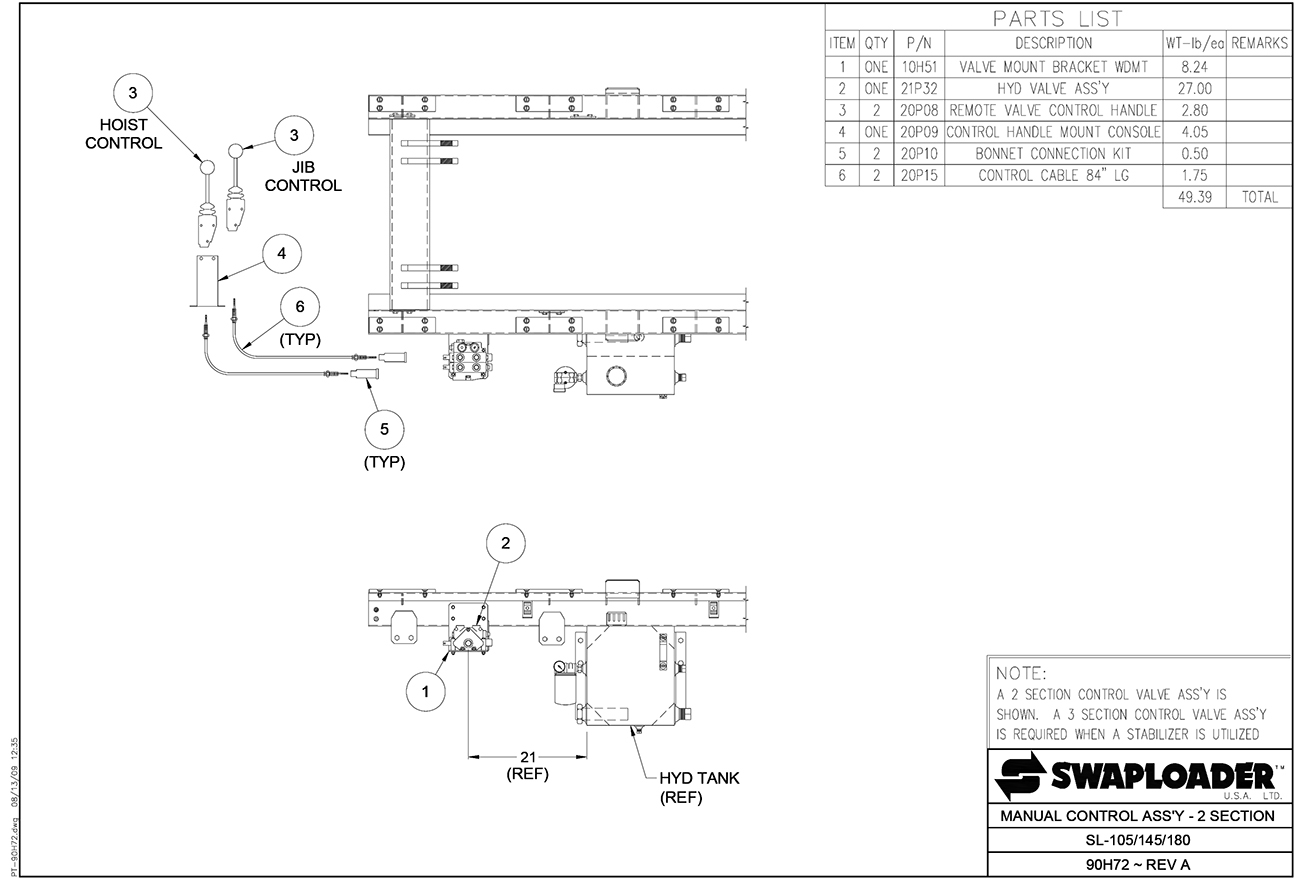 Swaploader 100 Series Sl 105 Hooklift Diagrams Eagle 2 45 Lift Wiring Diagram 145 180 185 Manual Control Assembly Section