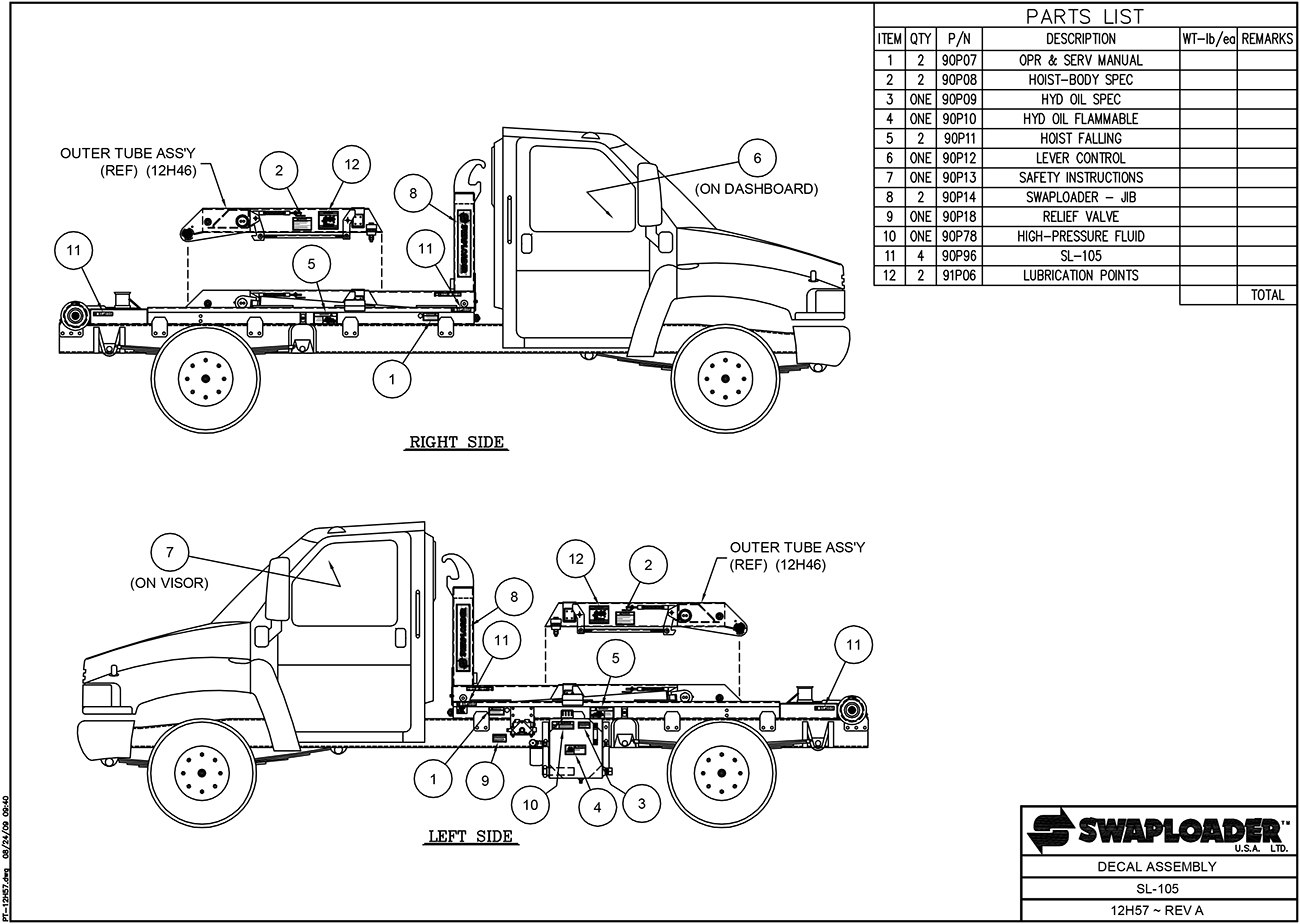 SL-105 Decal Assembly Diagram