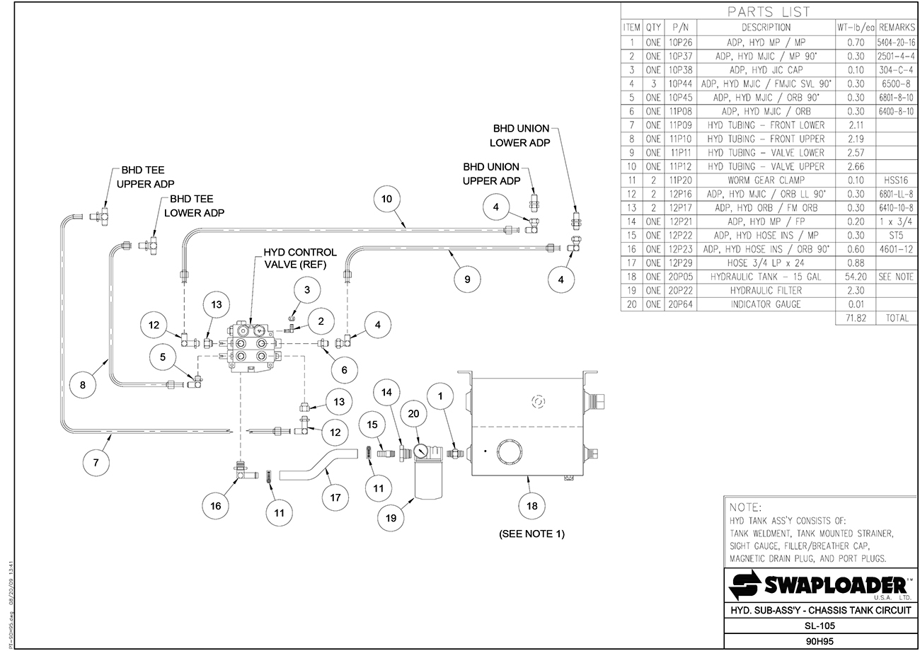 Swaploader 100 Series Sl 105 Hooklift Diagrams Hydraulic Spreader Wiring Diagram Sub Assembly Chassis Tank Circuit
