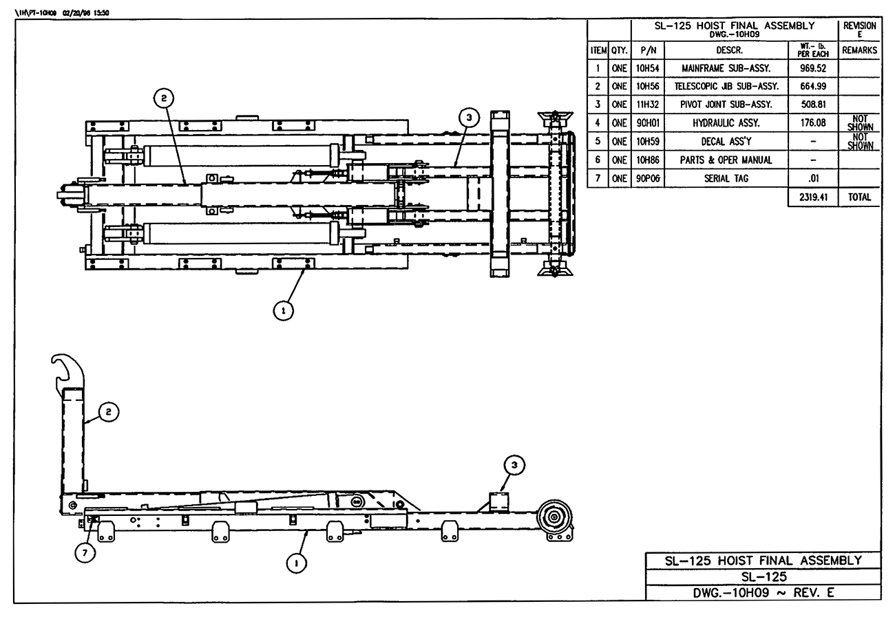 SL-125 Hoist Final Assembly Diagram
