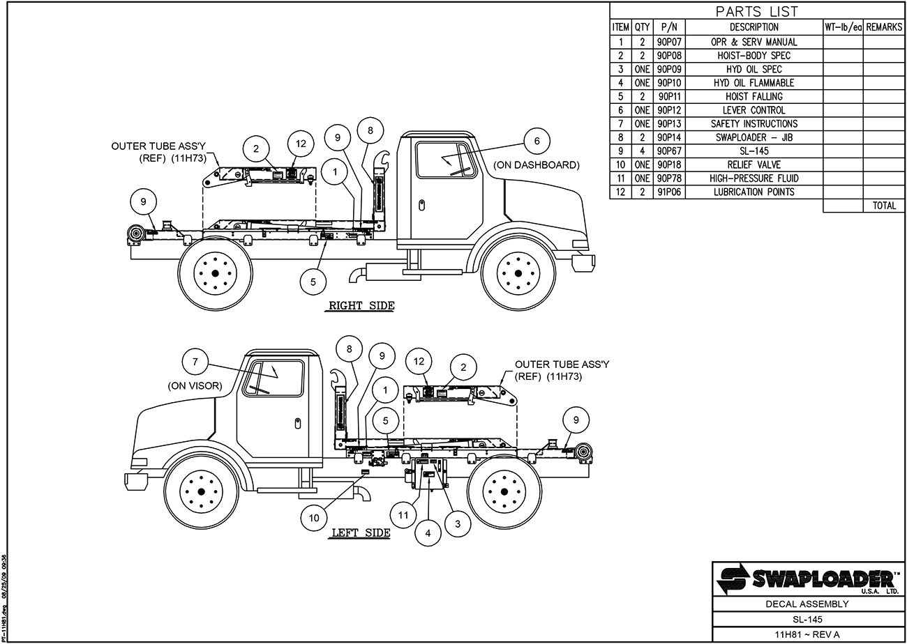 SL-145 Decal Assembly Diagram