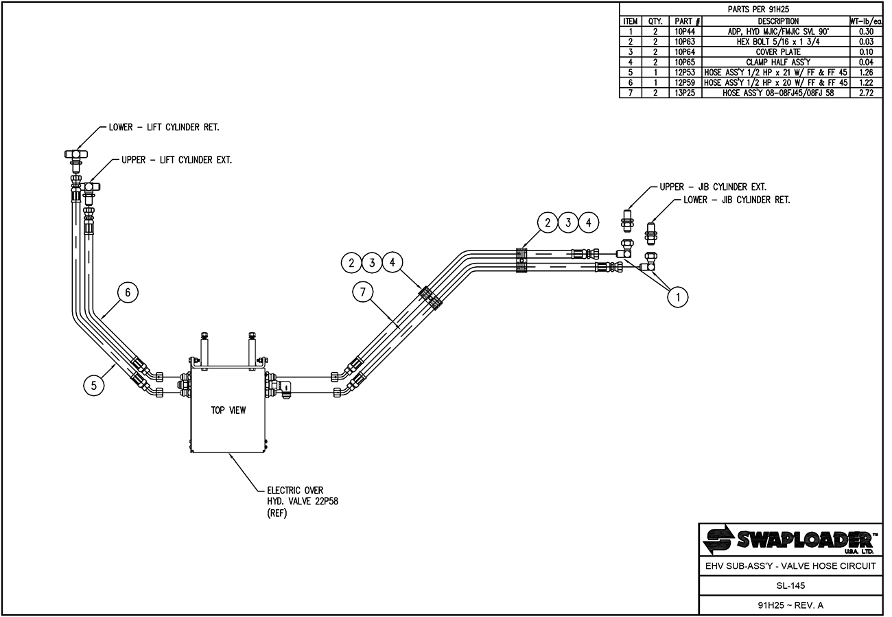 SL-145 EHV Sub Assembly - Valve Hose Circuit Diagram