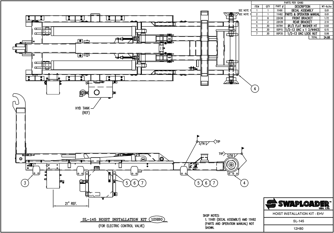 SL-145 Hoist Installation Kit EHV Diagram