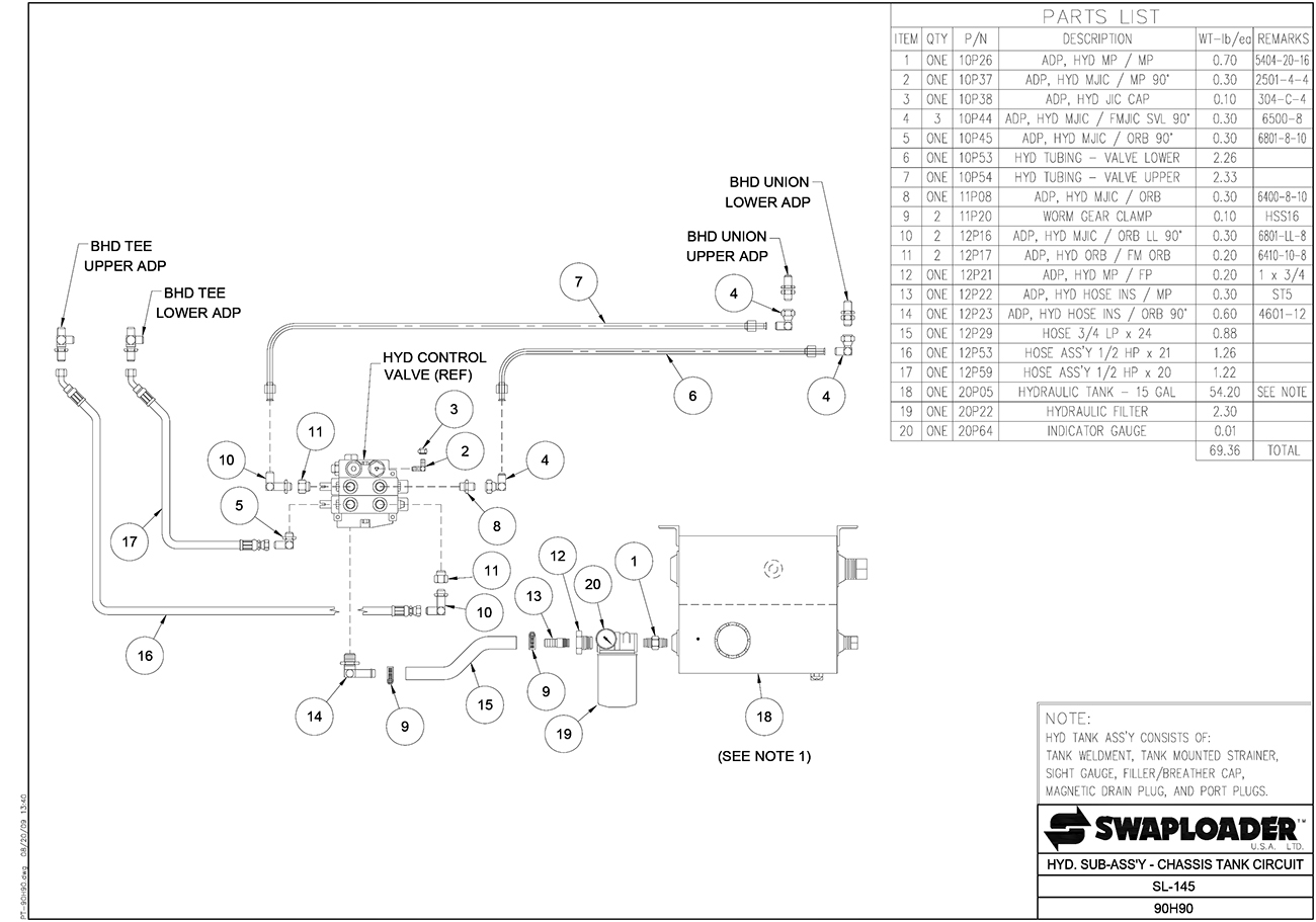 SL-145 Hydraulic Sub Assembly - Chassis Tank Circuit Diagram