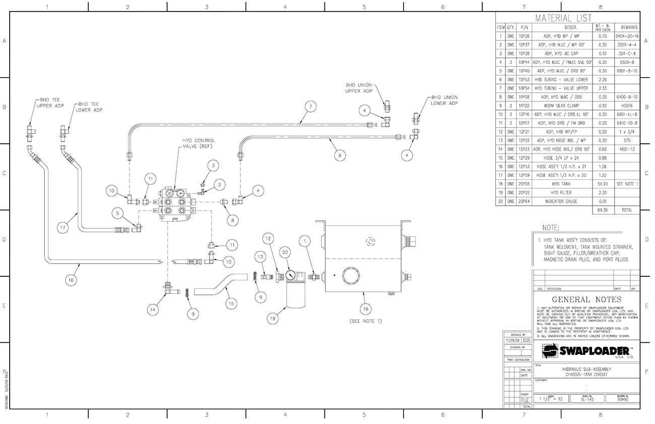 SL-145 Hydraulic Sub Assembly Chassis - Tank Circuit Diagram