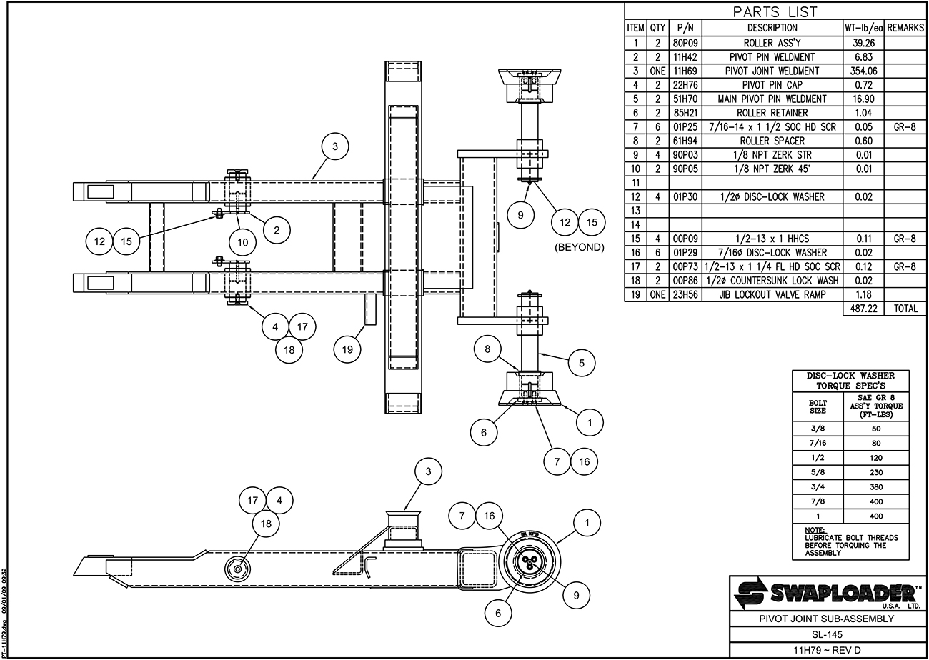 SL-145 Pivot Joint Sub Assembly Diagram