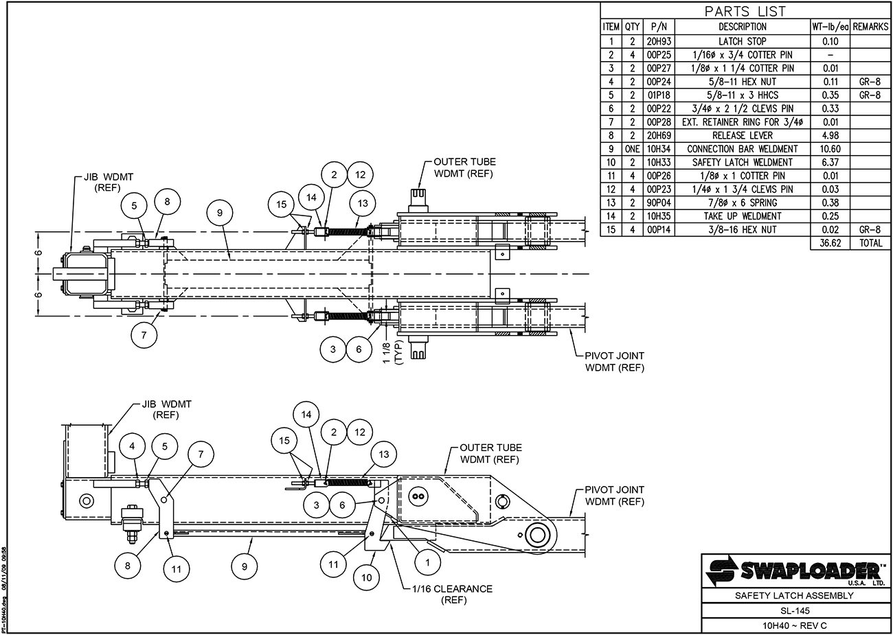 SL-145 Safety Latch Assembly Diagram