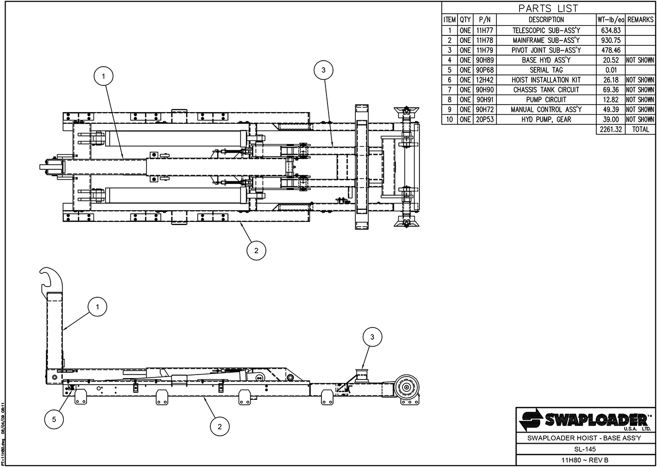 SL-145 Swaploader Hoist Base Assembly Diagram