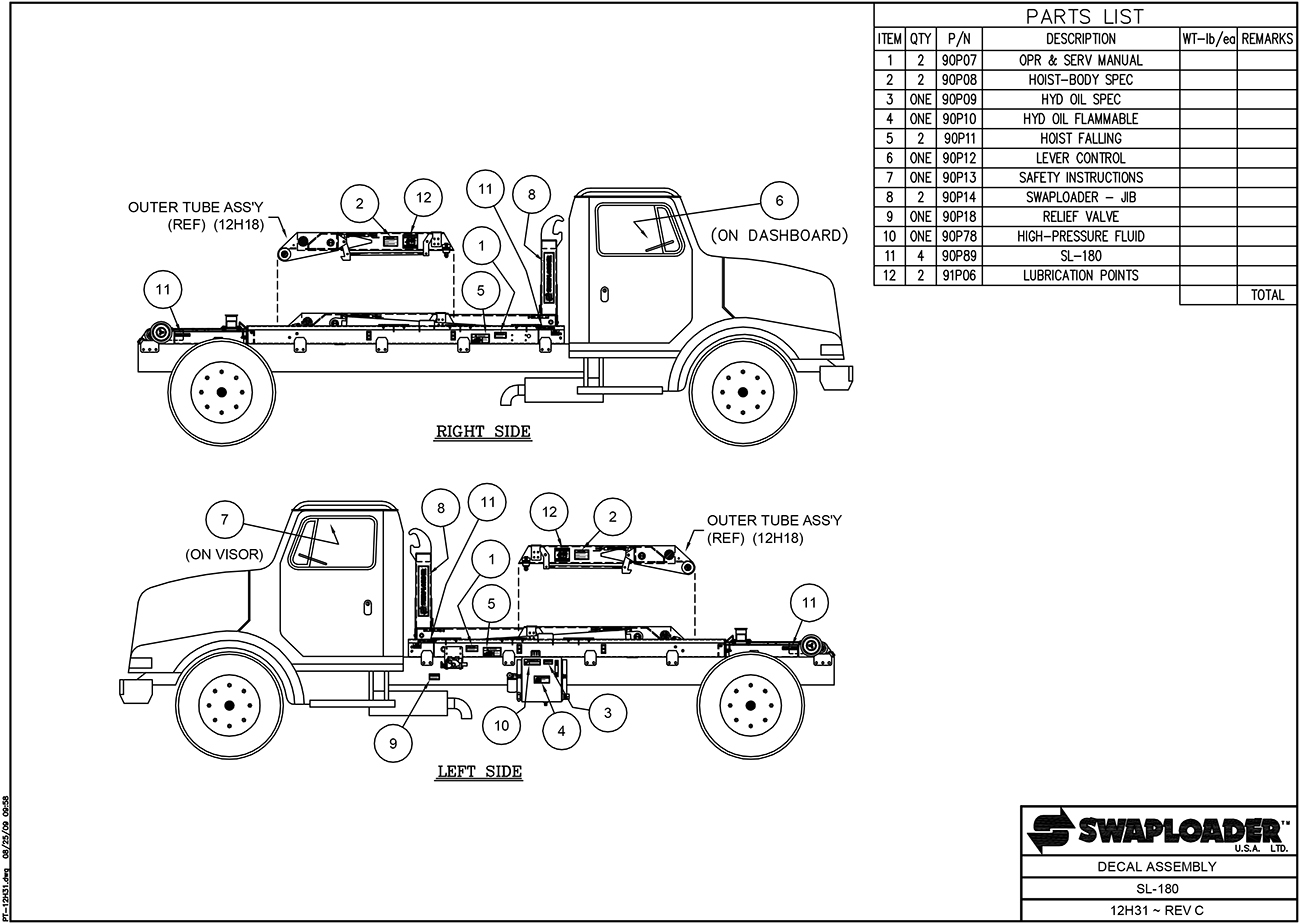 SL-180 Decal Assembly Diagram