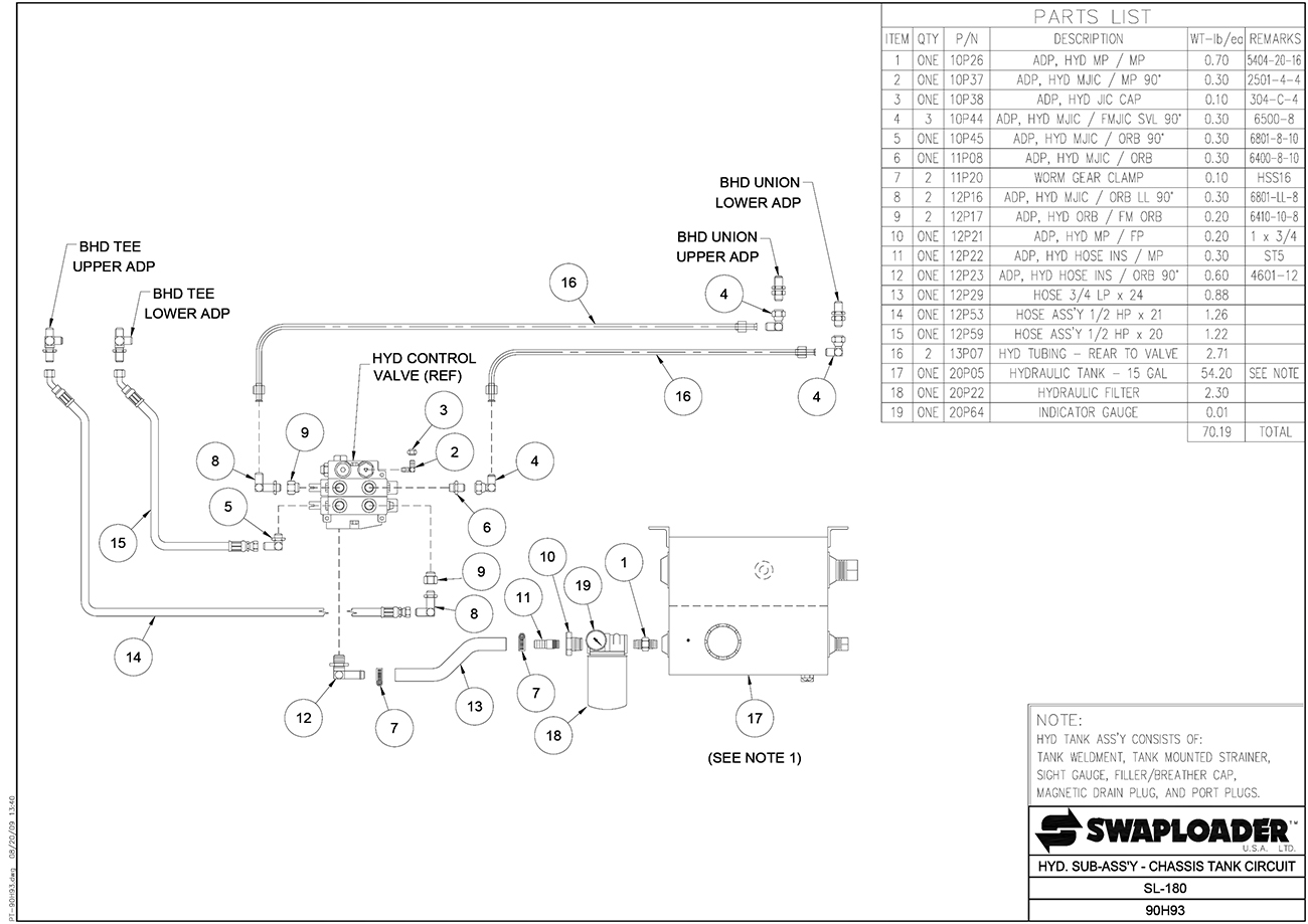 SL-180 Hydraulic Sub-Assembly Chassis Tank Circuit Diagram