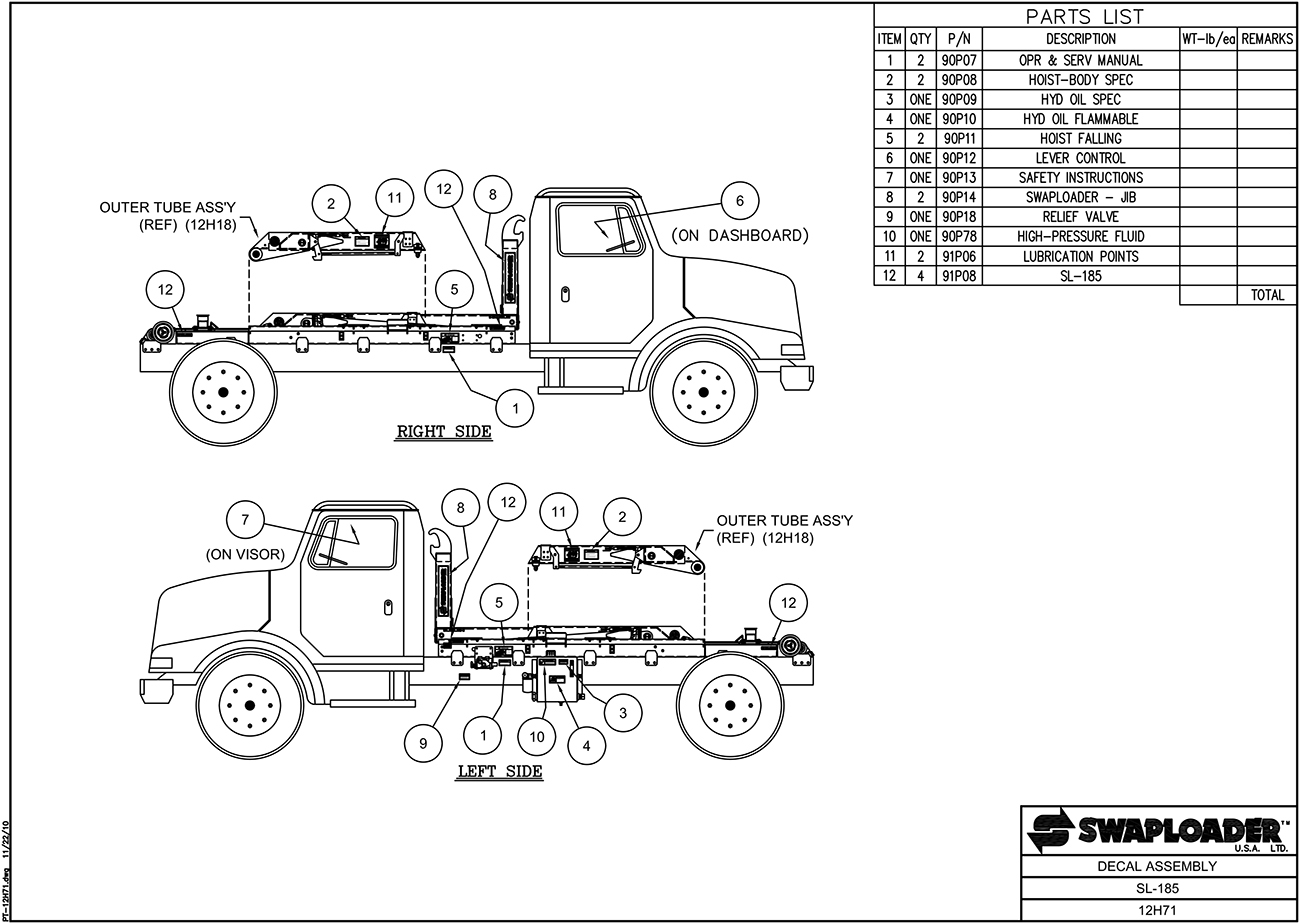 SL-185 Decal Assembly Diagram