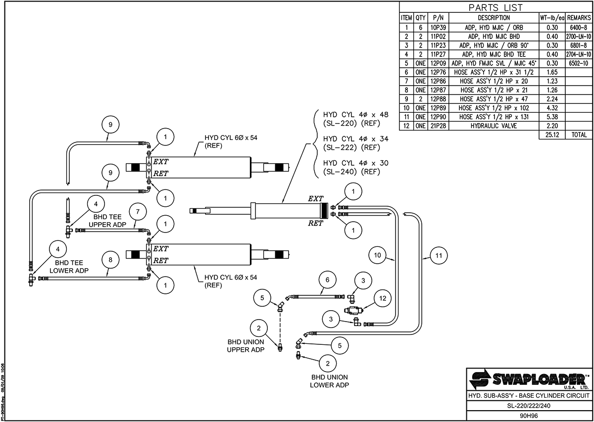 SL-220/222/240 Hydraulic Sub-Assembly Base Cylinder Circuit Diagram