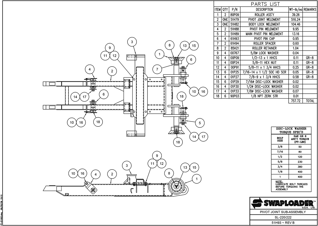 SL-220/222 Pivot Joint Sub-Assembly Diagram