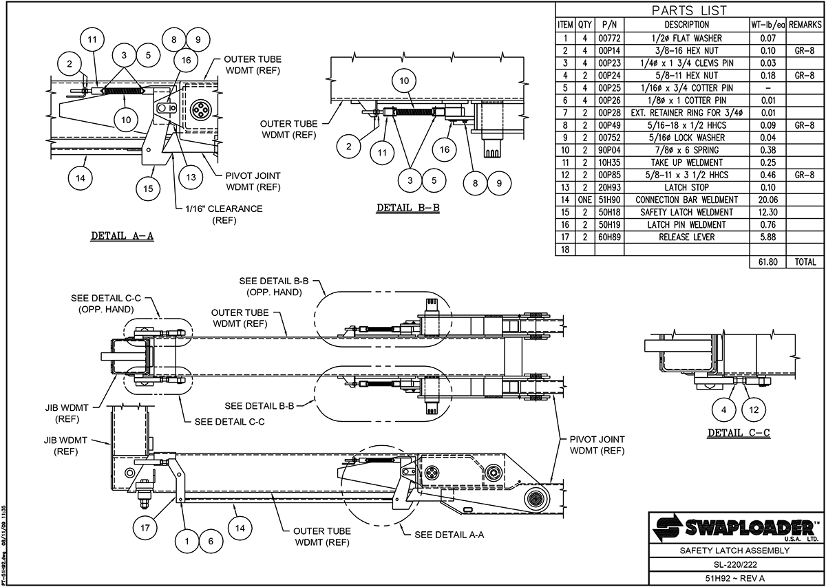 SL-220/222 Safety Latch Assembly Diagram