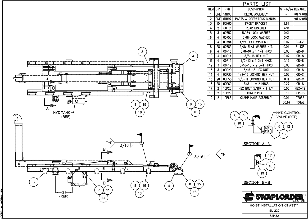SL-220 Hoist Installation Kit Assembly Diagram