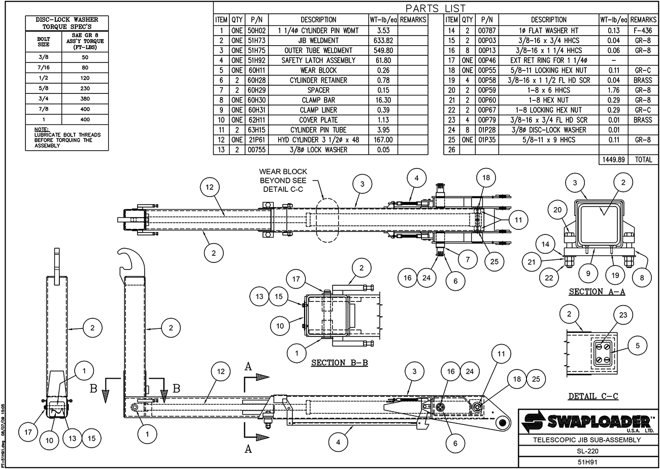 SL-220 Telescopic Jib Sub-Assembly Diagram