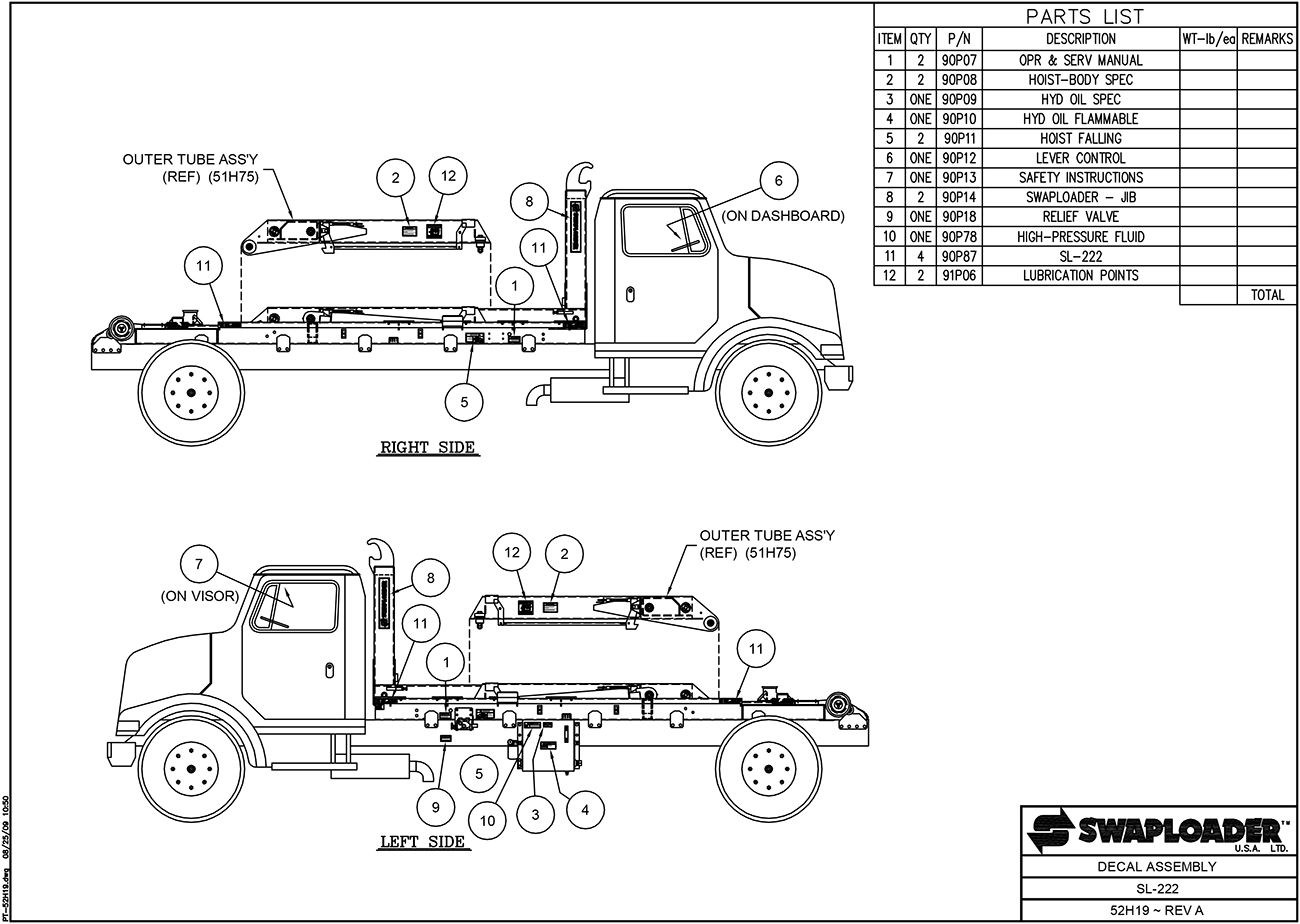Sl-222 Decal Assembly Diagram