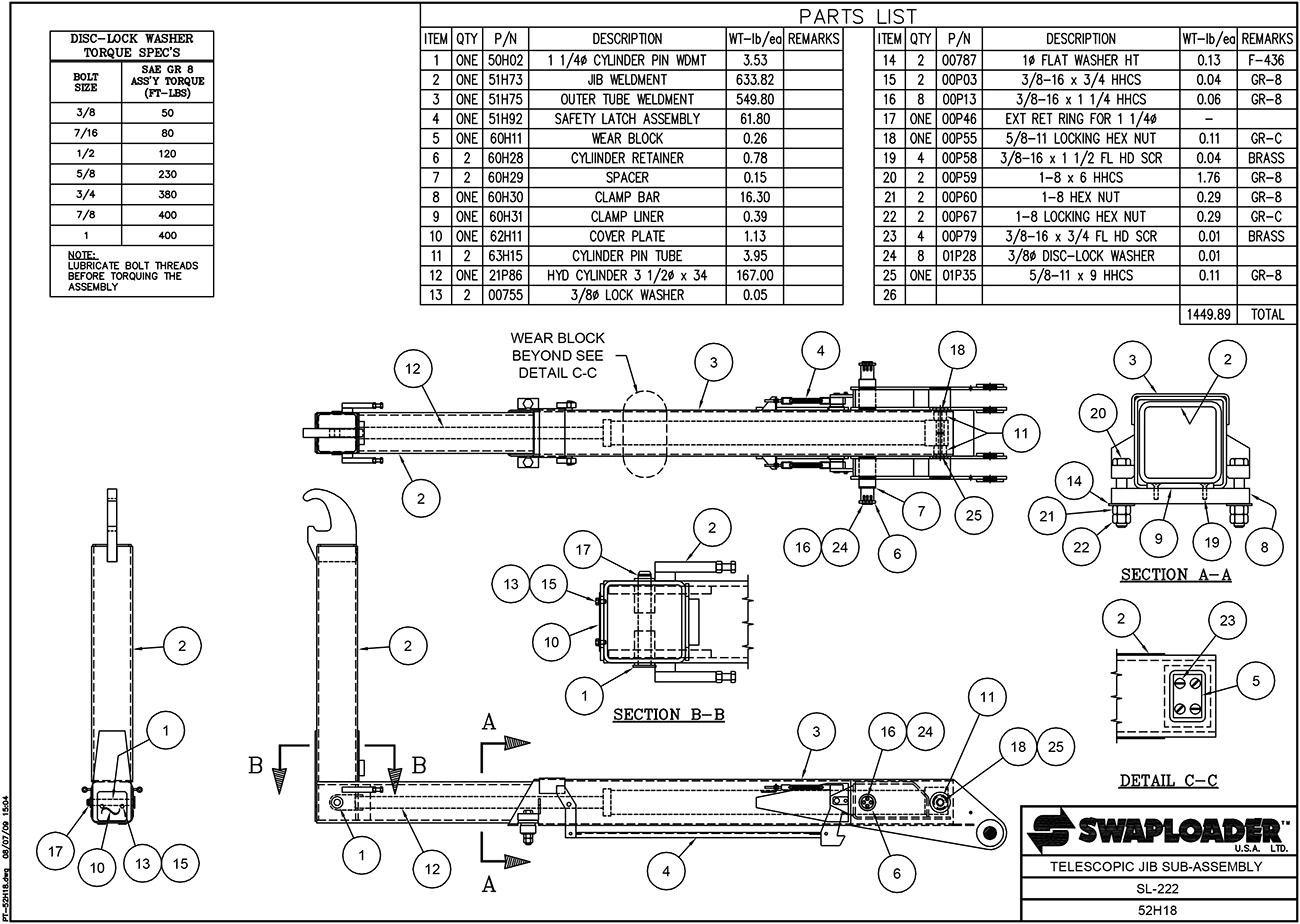 Swaploader - Sl-222 Telescopic Jib Sub-assembly