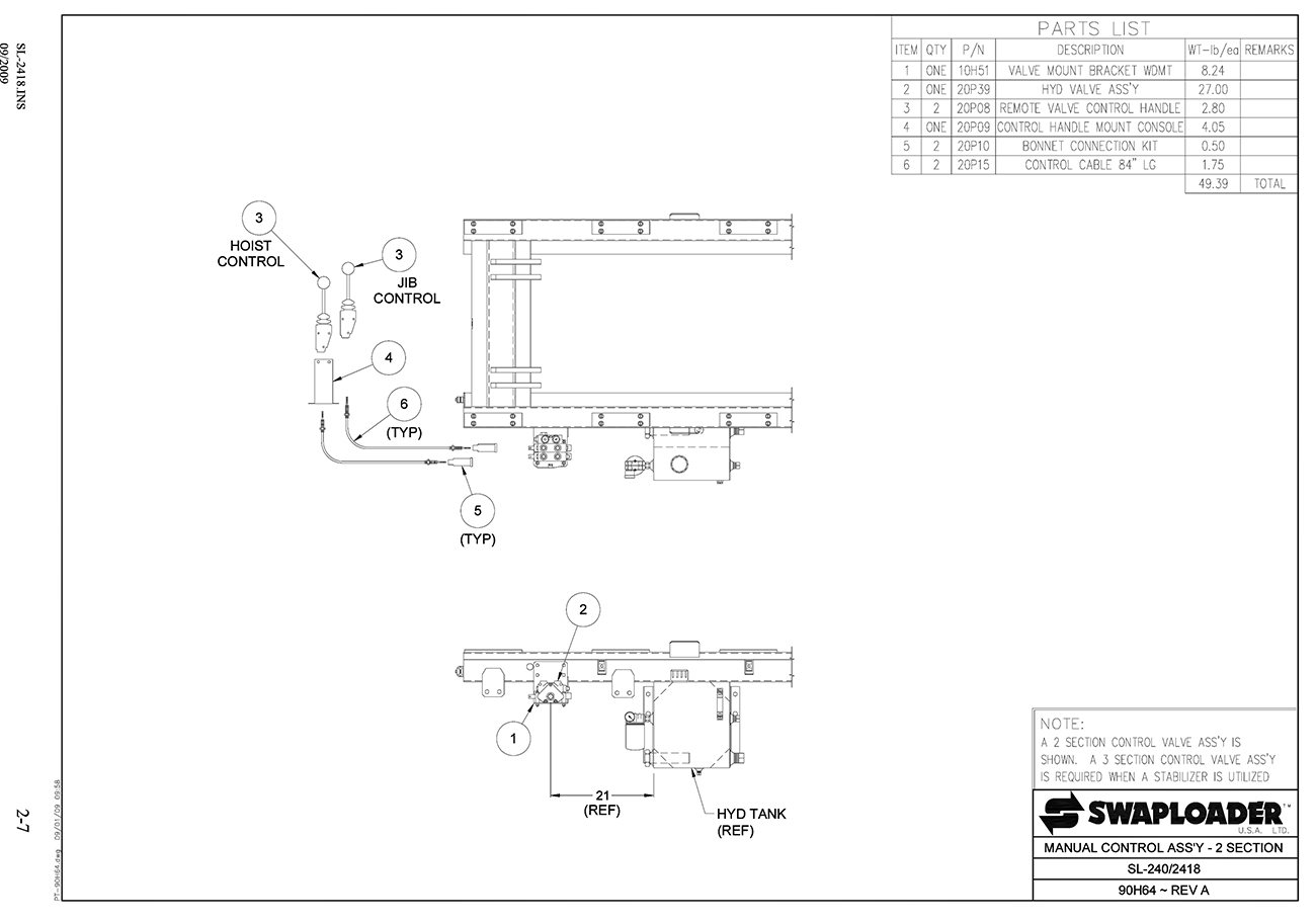 SL-240/2418 Manual Control Assembly (2 Section) Diagram