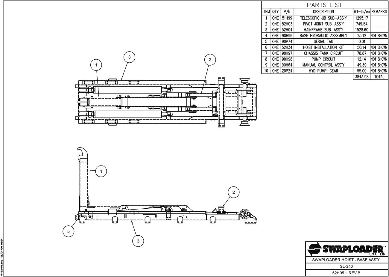 Swaploader 200 Series Sl 240 Hooklift Diagrams Tailgate Salt Spreader Wiring Diagram Hoist Base Assembly