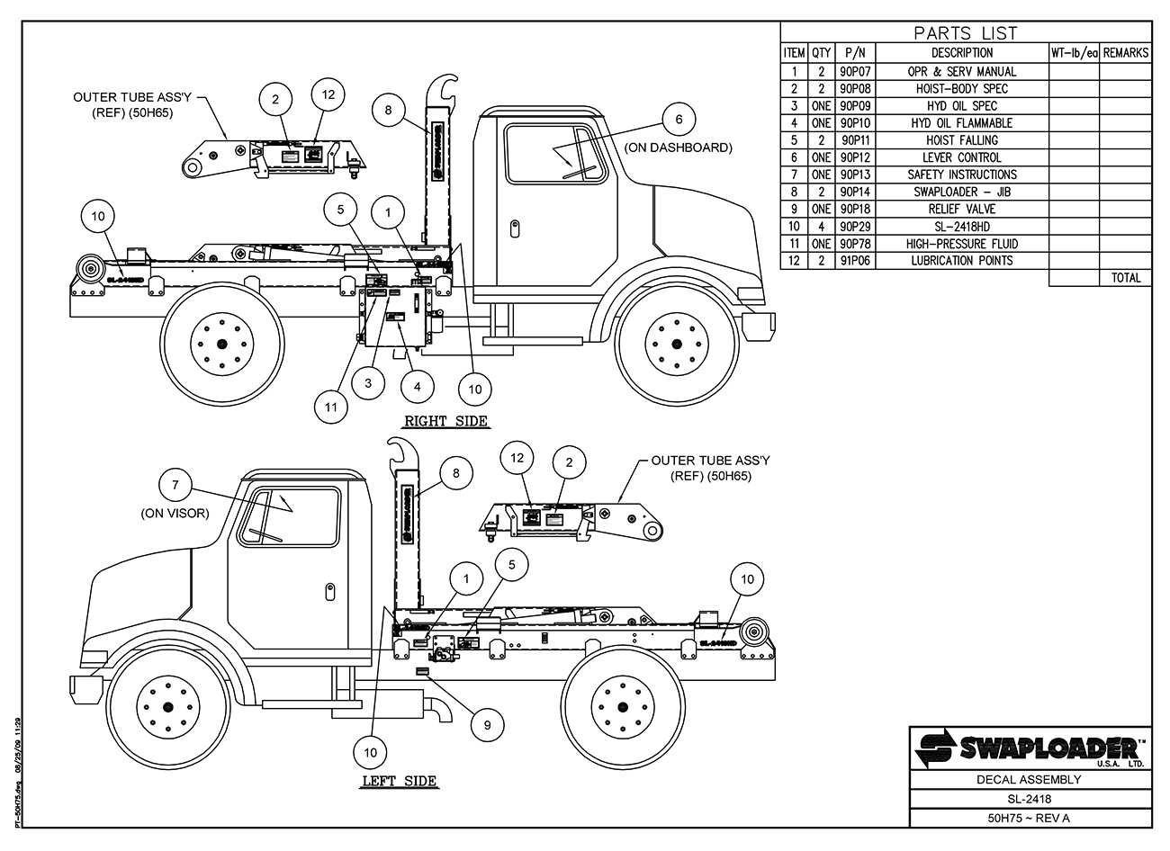 SL-2418 Decal Assembly Diagram