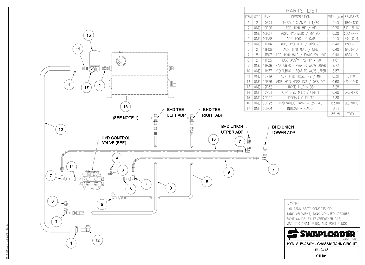 Swaploader Series 200 Sl 2418 Hooklift Diagrams Hydraulic Spreader Wiring Diagram Sub Assembly Chassis Tank Circuit