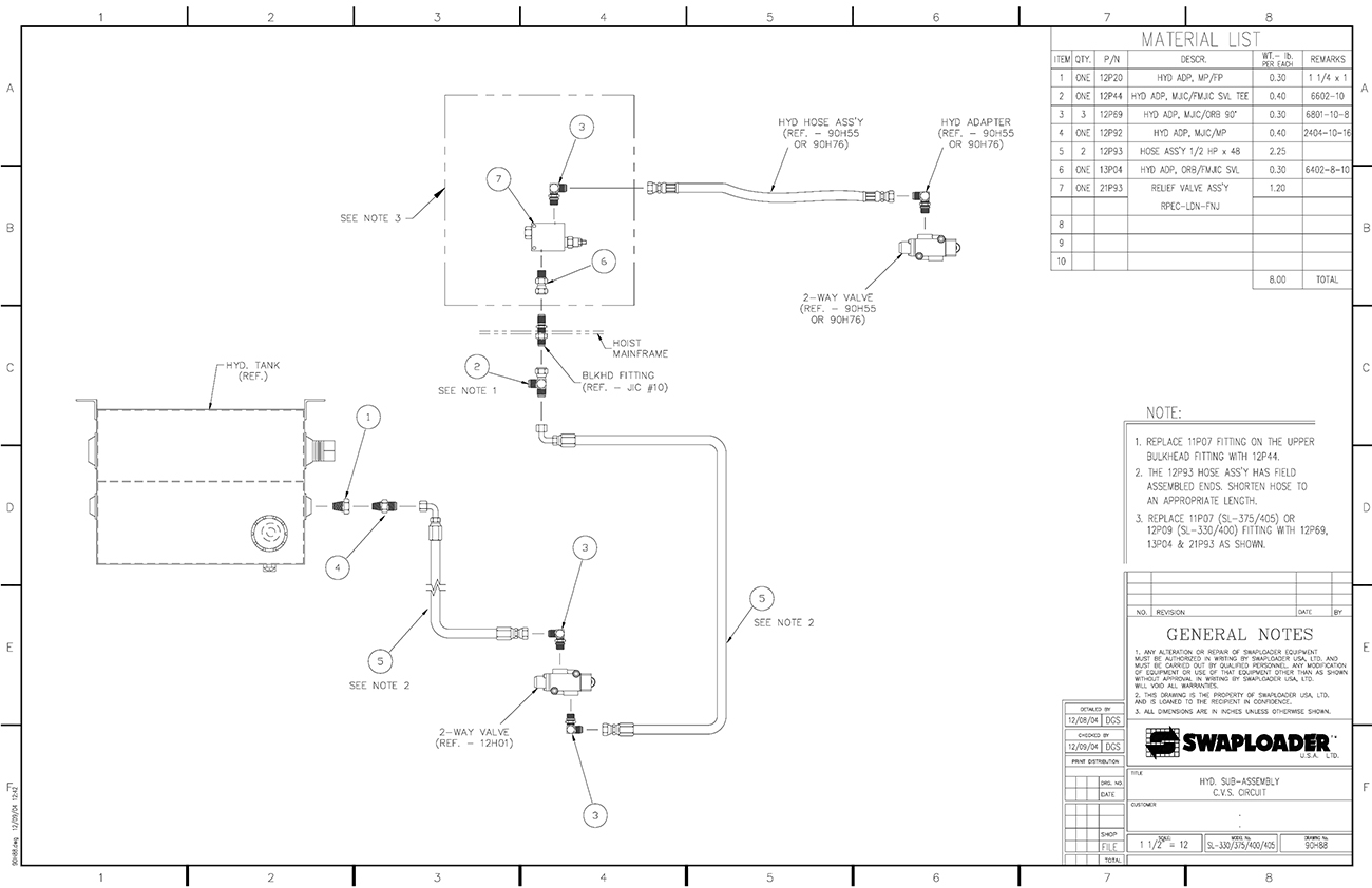 SL-330/400 Hydraulic Sub-Assembly CVS Circuit Diagram