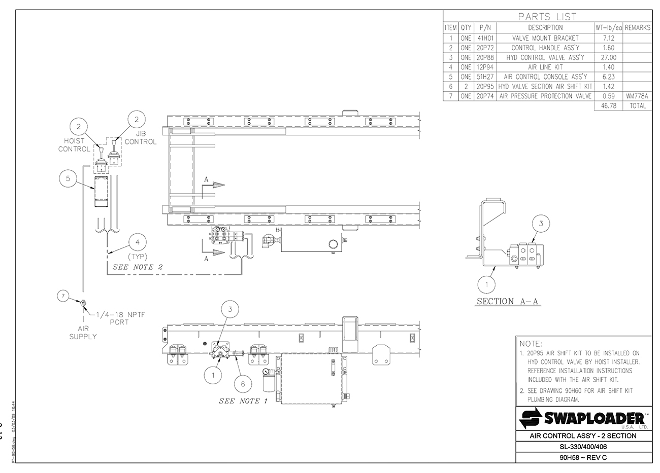 SL-330/400/406 Air Control Assembly (2 Section) Diagram
