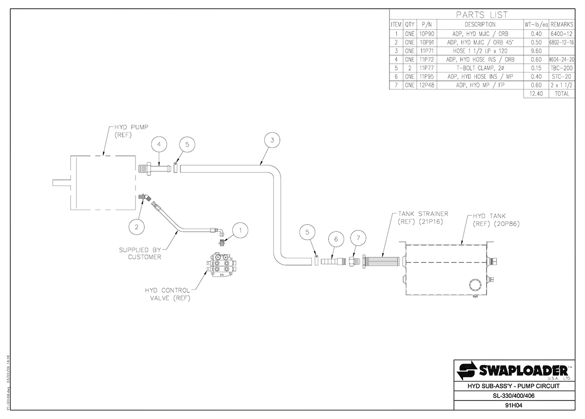 SL-330/400/406 Hydraulic Sub-Assembly Pump Circuit Diagram