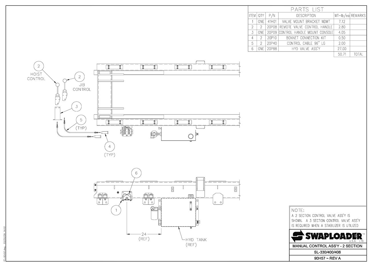 SL-330/400/406 Manual Control Assembly (2 Section) Diagram
