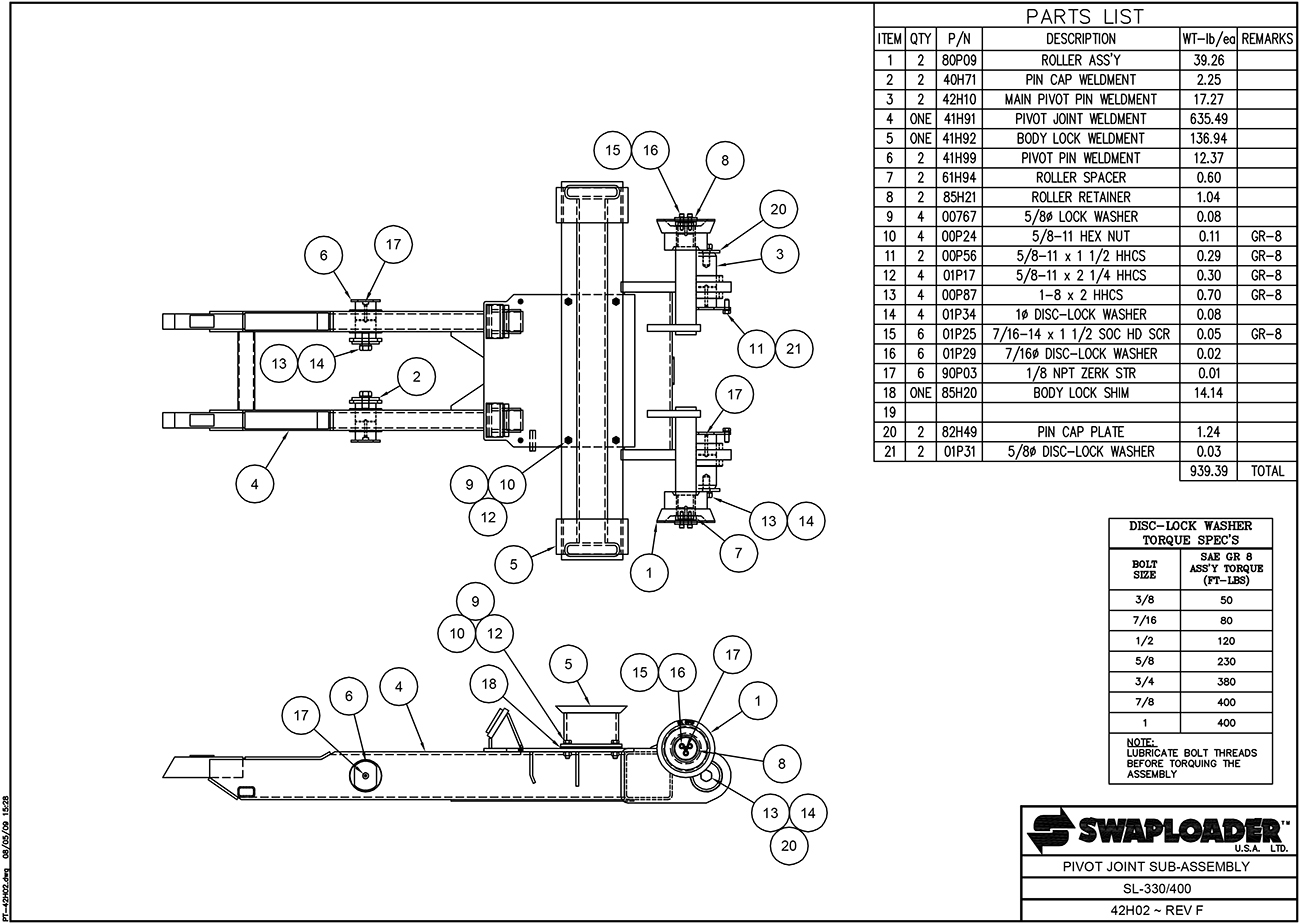 SL-330/400 Pivot Joint Sub-Assembly Diagram