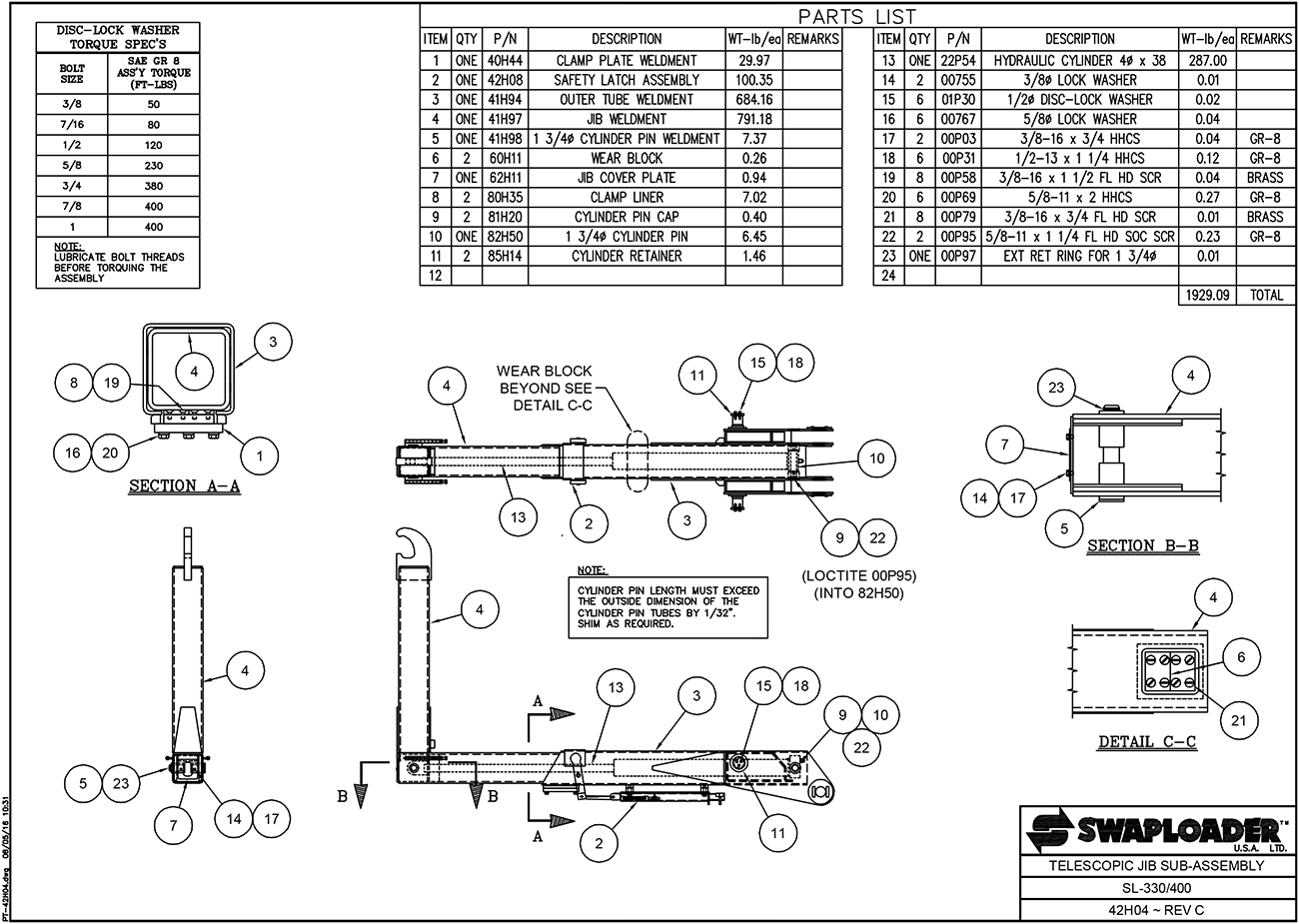 SL-330/400 Telescopic Jib Sub-Assembly Diagram