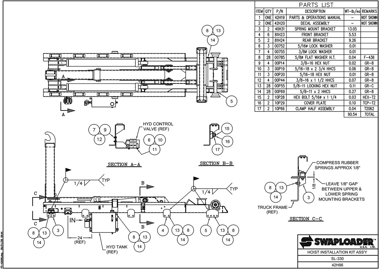Swaploader 400 Series Sl 330 Hooklift Diagrams Rm Hoist Wiring Diagram Installation Kit Assembly