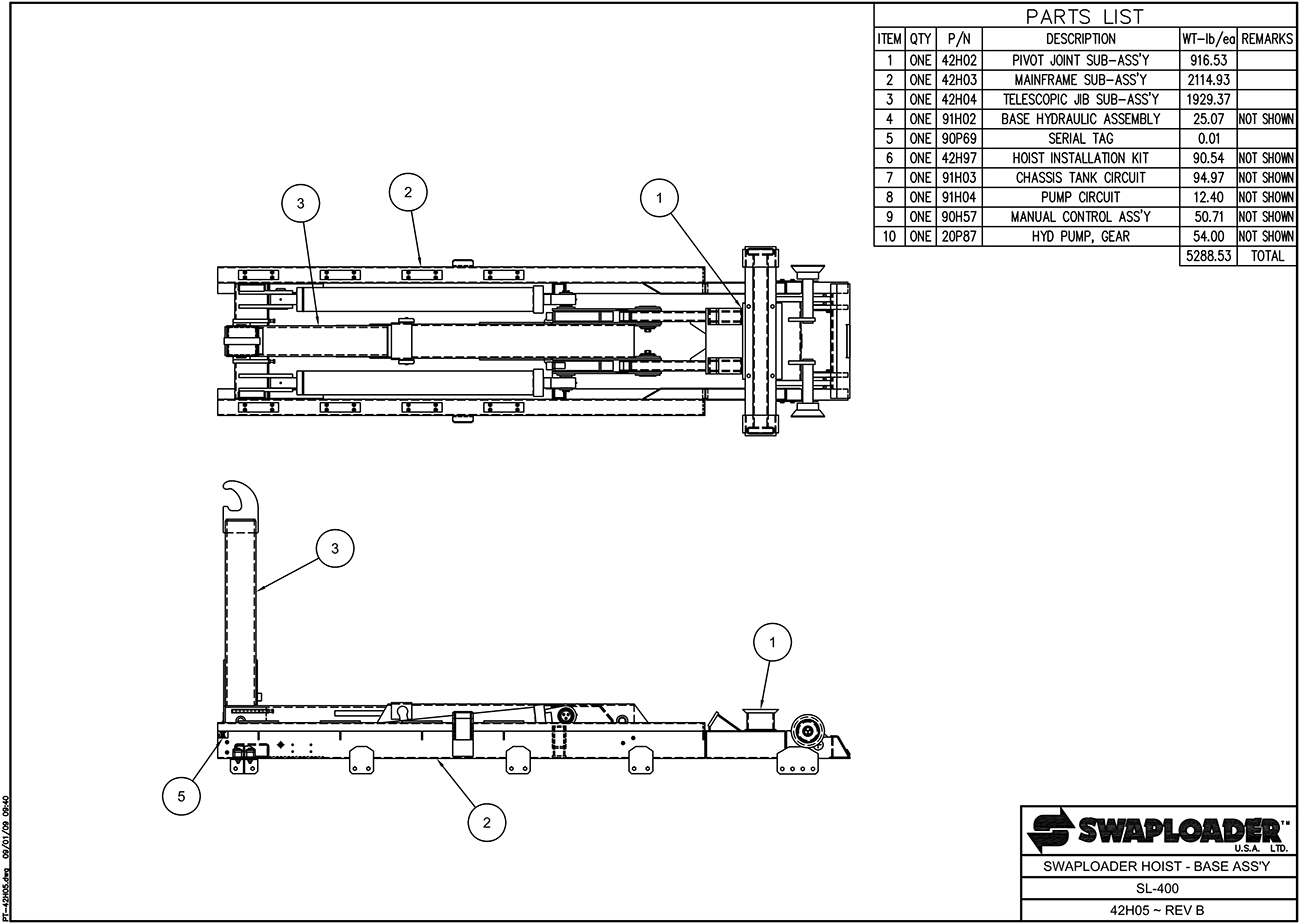 SL-400 Swaploader Hoist Base Assembly Diagram