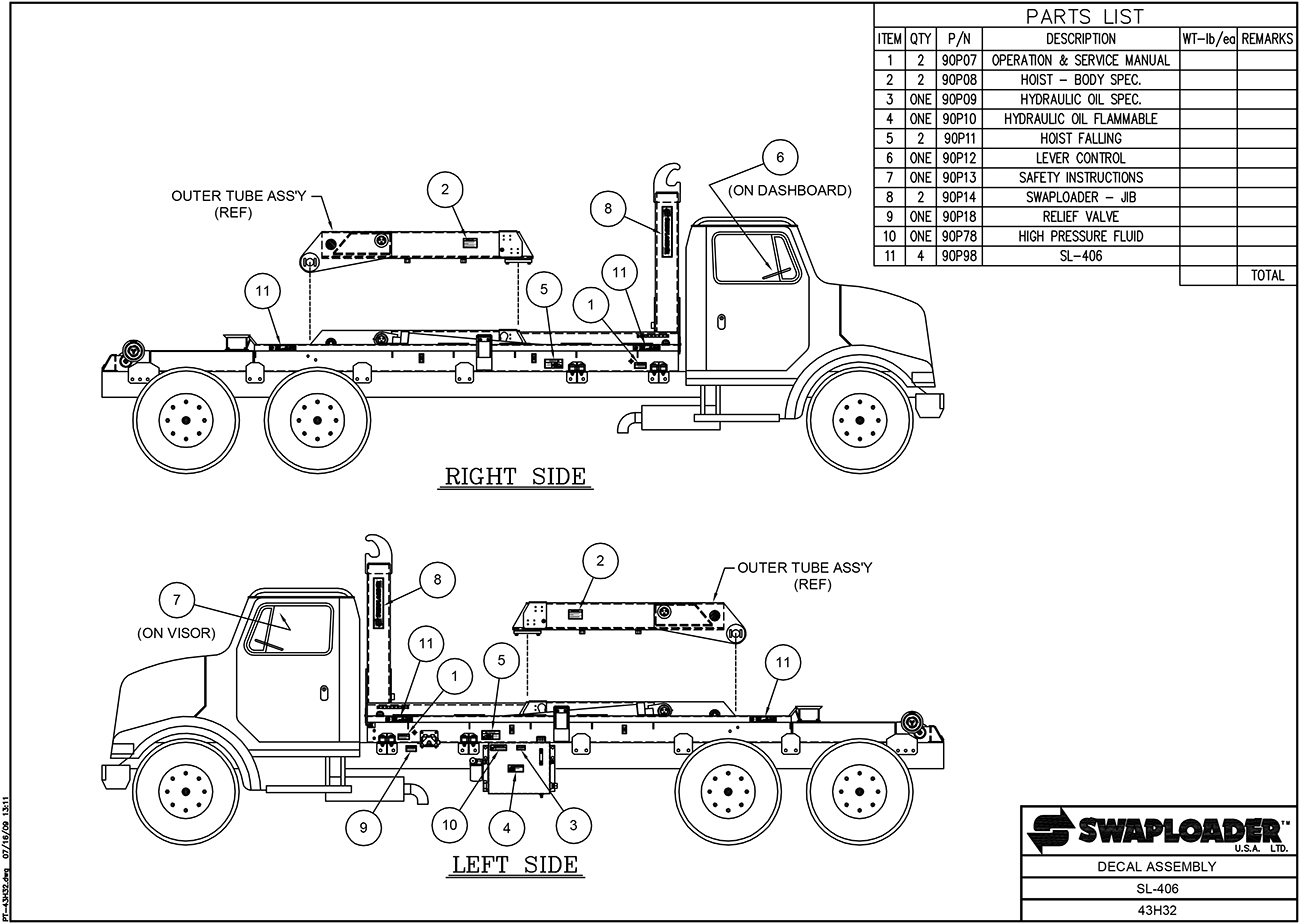 SL-406 Decal Assembly Diagram