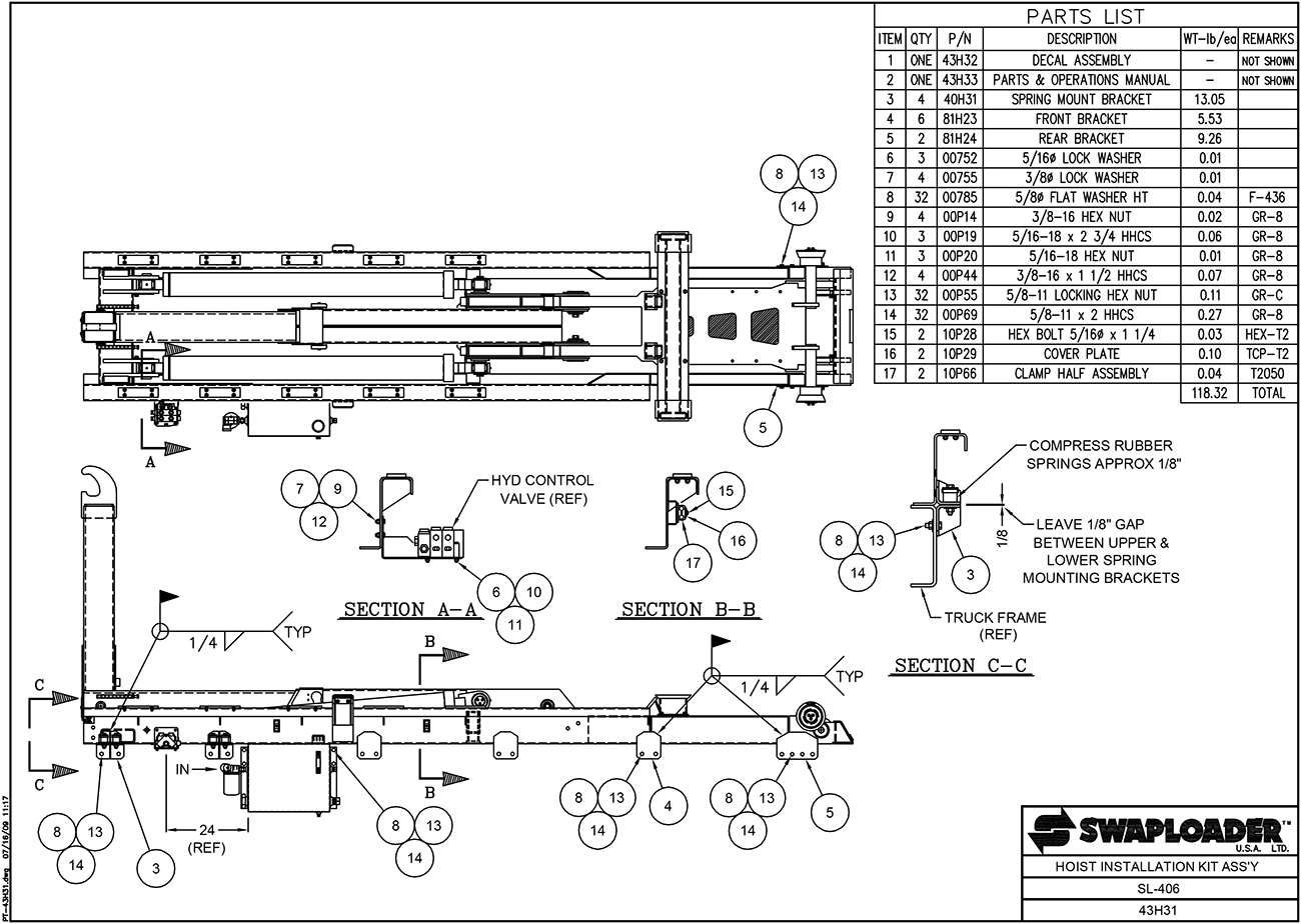SL-406 Hoist Installation Kit Assembly Diagram